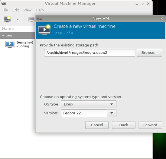 Figure 20- Virt-Manager (Create Fedora 22 as DomU on OpenSUSE).png