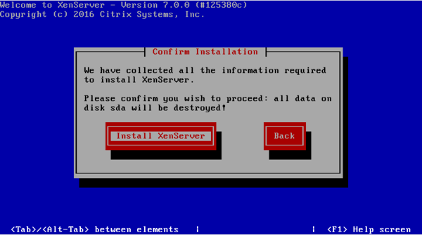"Figure 53 - Select ""Install XenSever"" to start installation.png"